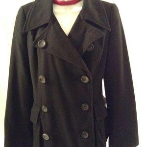 H&M BLACK WOOL PEA COAT BELL SLEEVES SIZE 6